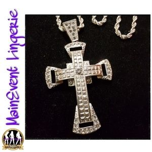 Other - Silver Iced Out Cross Pendant & Necklace